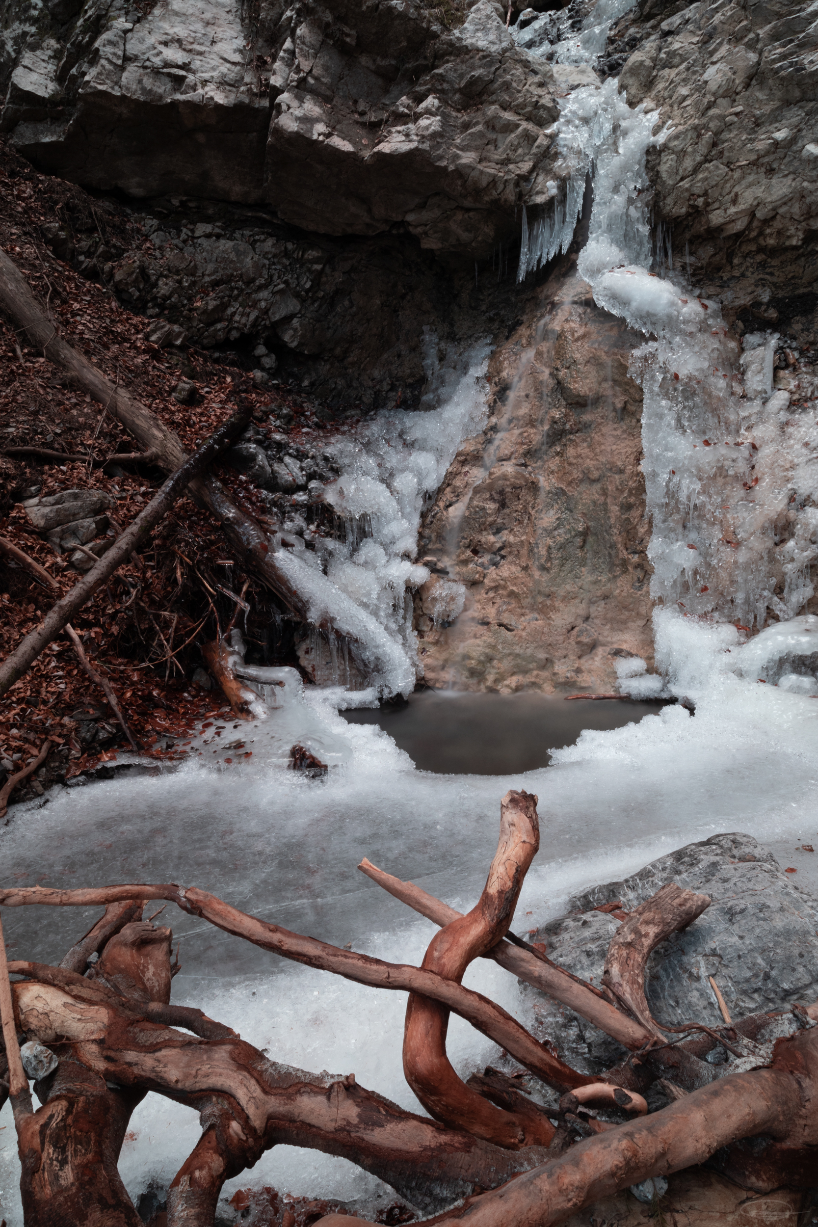 Impressions from the Woods, icy brook and water falls, leaves and more.