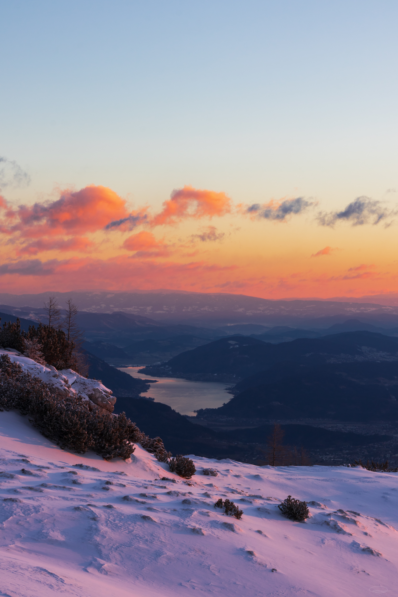 Beautiful Sunrise view from the Dobratsch