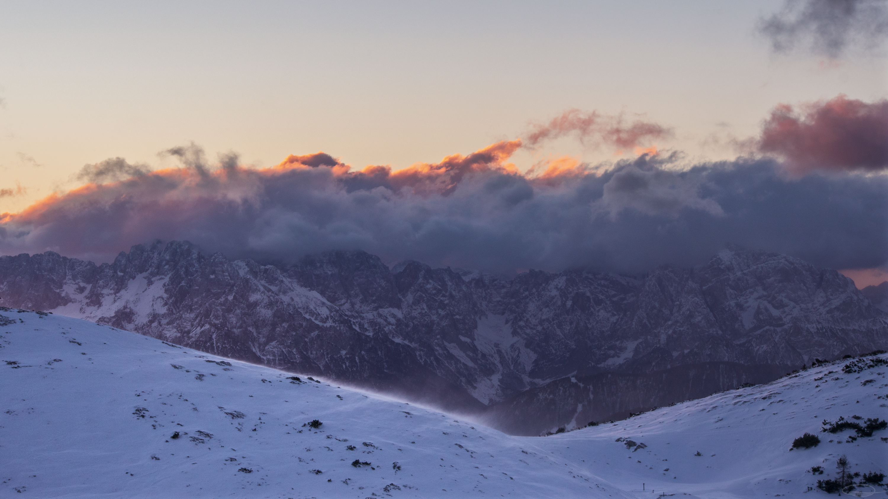 Sunrise View from the Dobratsch Mountain - view south to the Karawank mountain range
